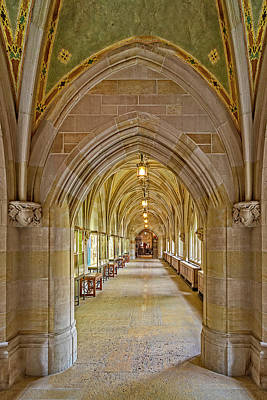 Poster featuring the photograph Yale University Cloister Hallway by Susan Candelario