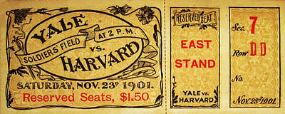 Yale Vs. Harvard Soldiers Field 1901 Vintage Ticket Poster by Bill Cannon