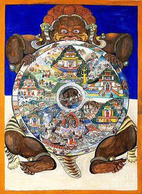 Yama, Hindu God Of Death, With Wheel Poster