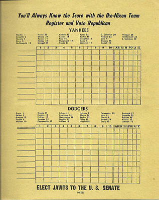 Yankees - Dodgers - Ike - Nixon Republican Score Card Poster by Bill Cannon