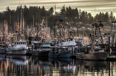 Poster featuring the photograph Yaquina Bay Boat Basin At Dawn by Thom Zehrfeld