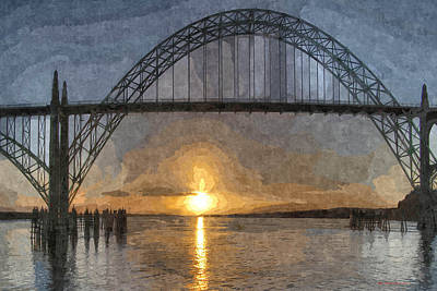 Yaquina Bay Sunset Poster by Thom Zehrfeld