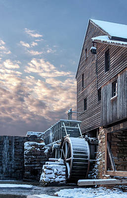 Yates Mill. Winter Sunset Poster by Paul Malcolm
