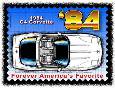 Year-by-year 1984 Corvette Postage Stamp Poster