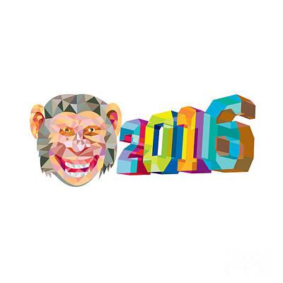 Year Of The Monkey 2016 Low Polygon Poster by Aloysius Patrimonio