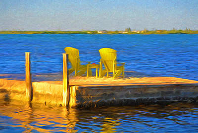 Yellow Adirondack Chairs On Dock In Florida Keys Poster