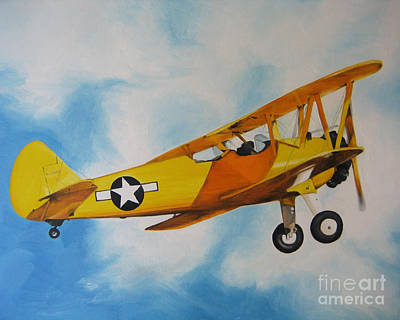 Poster featuring the painting Yellow Airplane - Detail by Jindra Noewi