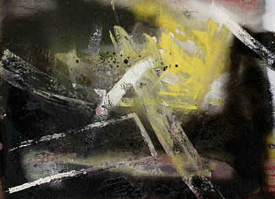 Yellow And Black Abstract Poster by Ethel Vrana