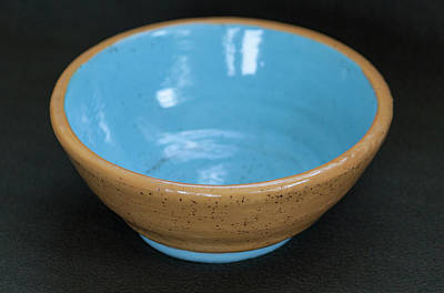Yellow And Blue Ceramic Bowl Poster by Suzanne Gaff