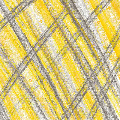 Yellow And Gray Lines Poster by Lourry Legarde