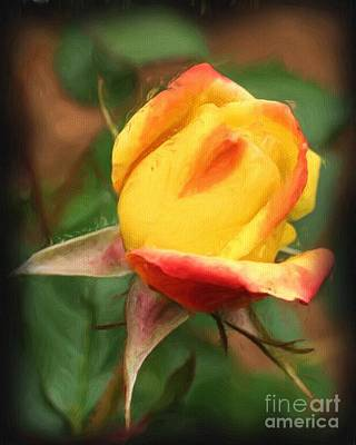 Poster featuring the painting Yellow And Orange Rosebud by Smilin Eyes  Treasures