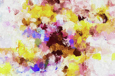 Poster featuring the painting Yellow And Pink Abstract Painting by Ayse Deniz