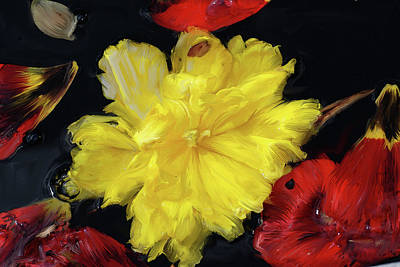 Yellow And Red Flower Painting  Poster by Don  Wright
