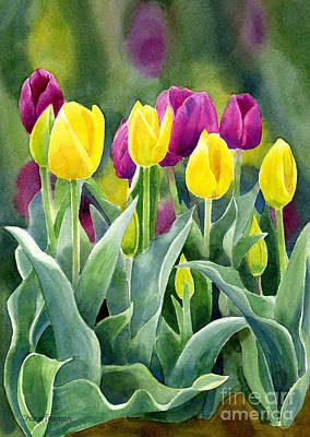 Yellow And Red Violet Tulips With Background Vertical Design Poster by Sharon Freeman