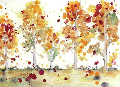 Poster featuring the painting Yellow Aspens by Dawn Derman