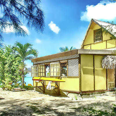 Poster featuring the photograph Yellow Beach Bungalow Bora Bora by Julie Palencia