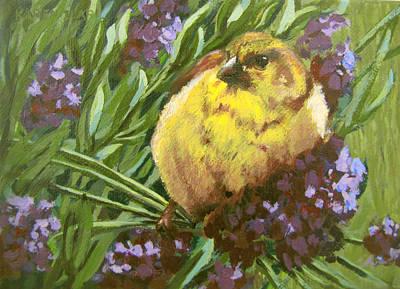 Poster featuring the painting Yellow Bird by Karen Ilari