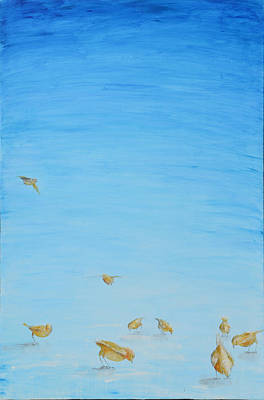 Poster featuring the painting Yellow Birds In The Blue2 by Nik Helbig