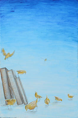 Poster featuring the painting Yellow Birds In The Blue3 by Nik Helbig