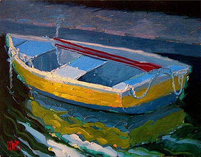 Yellow Boat And Red Oars Poster by Robert Lewis