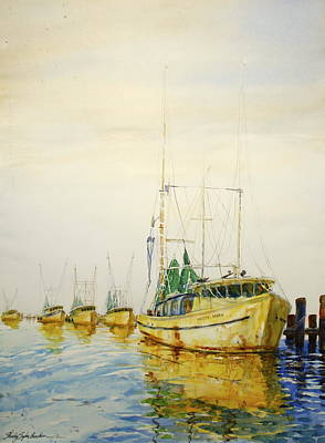 Yellow Boats Poster by Shirley Sykes Bracken