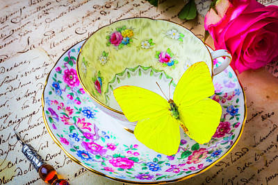 Yellow Butterfly On Tea Cup Poster