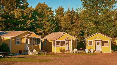 Yellow Cabins Poster by Mick Burkey
