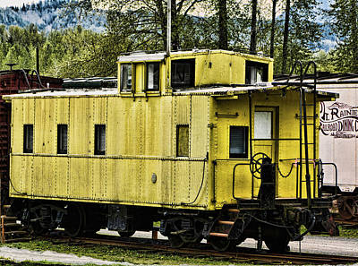 Yellow Caboose Poster by Ron Roberts