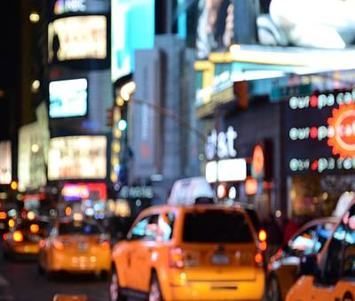 Yellow Cabs At Time Square In New York Poster by Marianna Mills