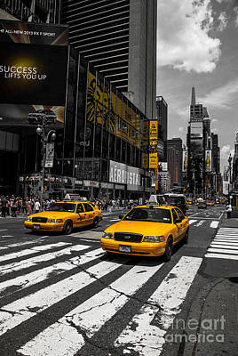 Yellow Cabs Cruisin On The Times Square  Poster by Hannes Cmarits