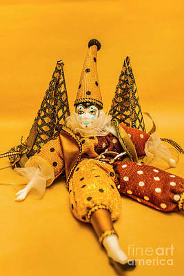 Yellow Carnival Clown Doll Poster