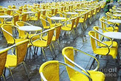 Yellow Chairs In Venice Poster by Mel Steinhauer