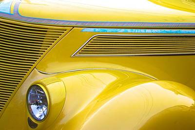 Yellow Classic Car Contours Poster