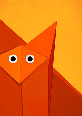 Yellow Cute Origami Fox Poster