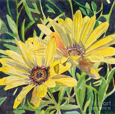 Poster featuring the painting Yellow Daisy by LeAnne Sowa