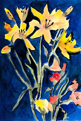 Yellow Daylilies Poster by Arline Wagner