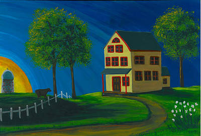 Poster featuring the painting Yellow Farm House by Gail Finn