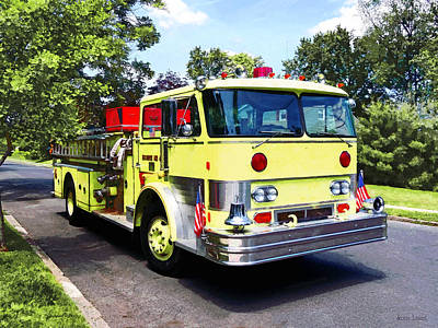 Yellow Fire Truck Poster by Susan Savad