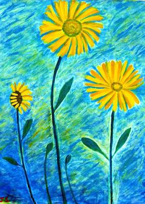 Poster featuring the painting Yellow Flowers by John Scates
