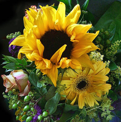 Yellow Foral Bouquet Poster by Linda Phelps