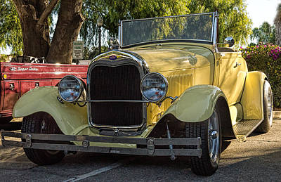 Poster featuring the photograph Yellow Ford Roadster by Steve Benefiel