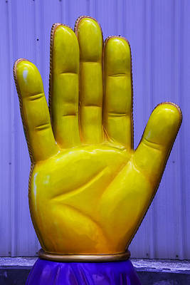 Yellow Hand Poster by Garry Gay