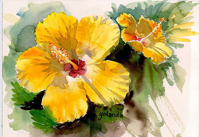 Poster featuring the painting Yellow Hibiscus by Yolanda Koh