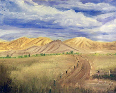 Poster featuring the painting Yellow Hills Of Jensen by Sherril Porter