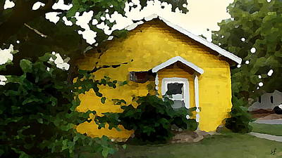 Poster featuring the digital art Yellow House In Shantytown  by Shelli Fitzpatrick