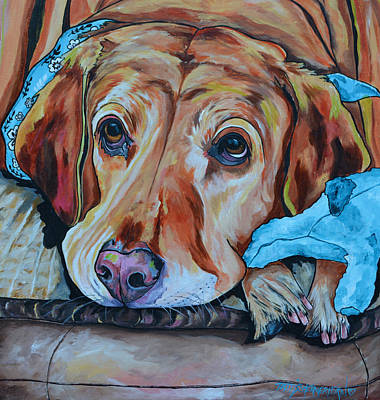 Poster featuring the painting Yellow Lab by Patti Schermerhorn