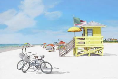 Yellow Lifeguard Station On Siesta Key Public Beach Poster by Shawn McLoughlin