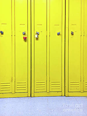 Yellow Metal Lockers Poster by Tom Gowanlock