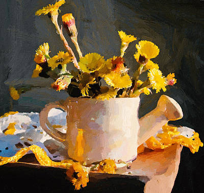 Yellow Nature Flowers Still Life Poster