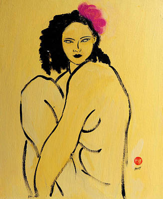 Yellow Nude With Pink Hibiscus Seated Poster